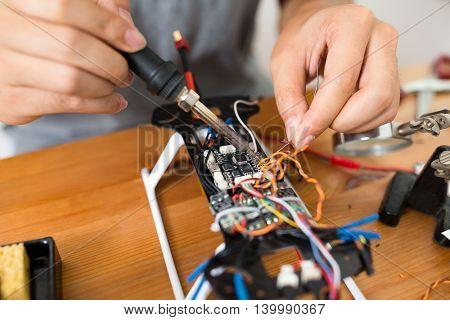 Welding on drone board