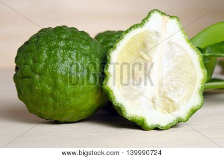 Bergamot Fruit Wibergamot Fruit With Half Cross Section And Bergamot Leaf