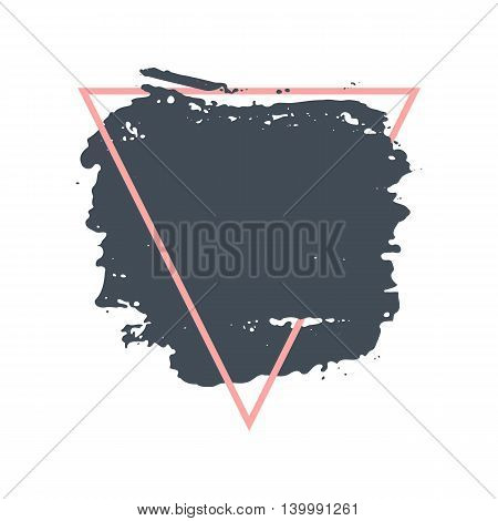 Abstract handdrawn background. Hand painted ink grey smear with rough edges and pink thin triangle frame isolated on white backdrop. Empty template - Trendy Vector illustration