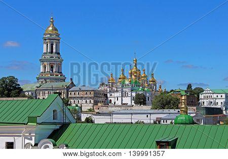 Tower and Kiev Pechersk Lavra monastery in Kyiv, Ukraine