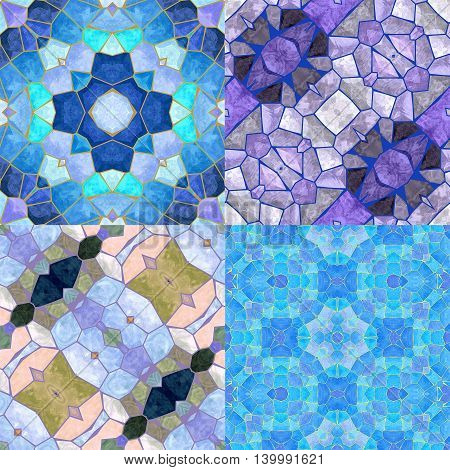 Abstract seamless kaleidoscopic background of stained glass mosaic. Set of four seamless colorful mosaic patterns in the winter cold colors. Blue, white, light purple and gray patterns
