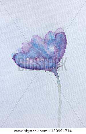Blue and Purple Watercolour Flower