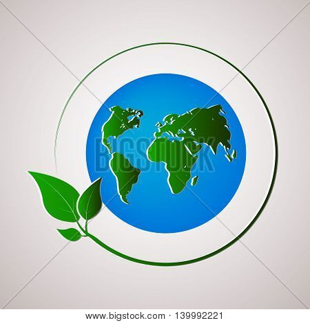 Green planet vector illustration. Ecology concept. Vector illustration