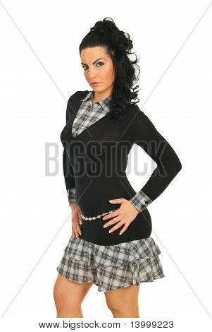 Beleza modelo mulher no perfil de Semi