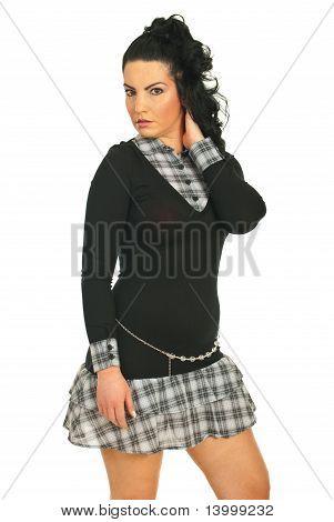 Pretty Woman In Squares Dress