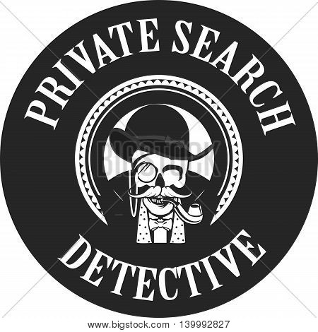 vector illustration of a skull with a pipe and a private investigator hat in the round logo