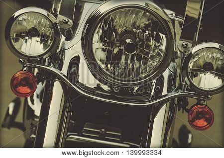 Motorcycle Chrome Headlights, Turn Signals and Front End