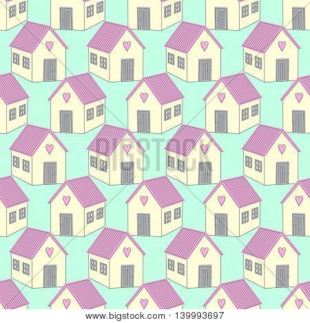 Cute houses with pink roofs seamless pattern. Home sweet home vector illustration. Cute child drawing style background. Design for textile, wallpaper, web, fabric and decor.