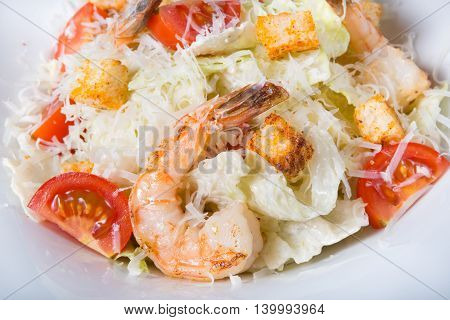Cesar salad with shrimps served on a white plate