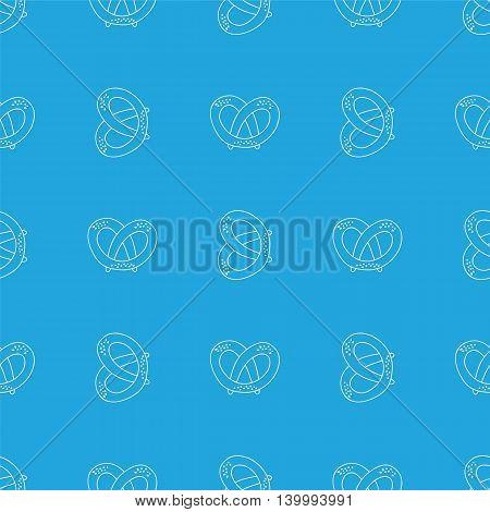 German pretzels seamless pattern on white background. Oktoberfest concept. Sketchy hand drawn doodle.