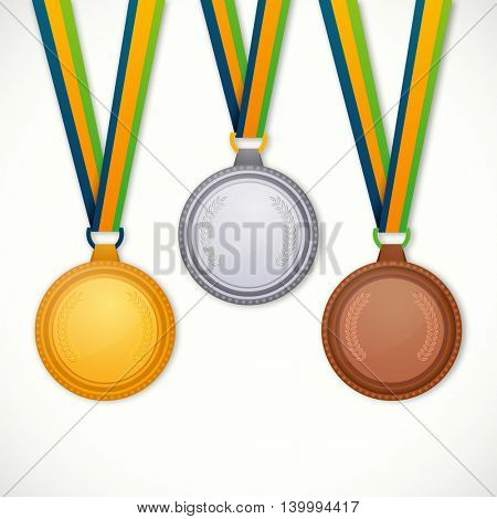 Glossy Gold, Silver and Bronze Medals with Ribbon on white background, Concept for Games.