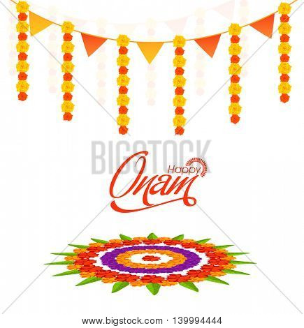 Elegant Greeting Card design decorated with beautiful flower rangoli for South Indian Festival, Happy Onam celebration.