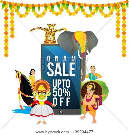 Onam Sale with Upto 50% Discount Offer, showing tradition of Kerala with beautiful flowers decoration, Can be used as Poster, Banner or Flyer design for South Indian Famous Festival celebration.