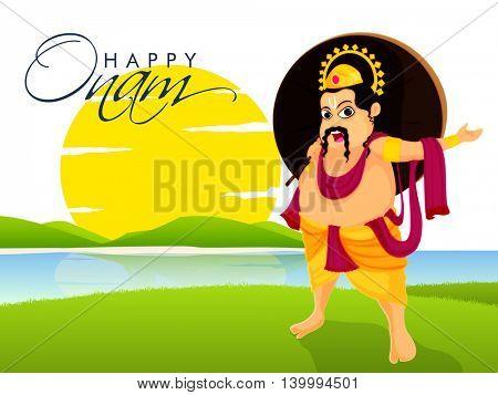 Creative illustration of King Mahabali on beautiful nature view background for South Indian Famous Festival, Happy Onam celebration.