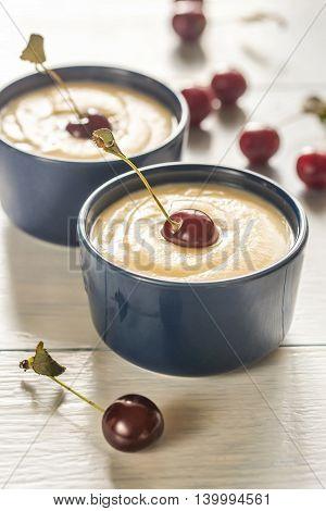 Custard With Cherries
