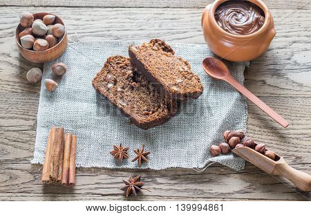 Slices Of Banana-chocolate Bread With Chocolate Cream
