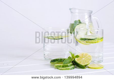 Sassy water. Fresh summer season detox drink with cucumber slices lime and mint.