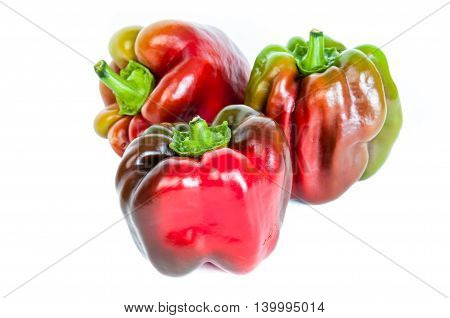 multicolored paprica bell pepper on white background.