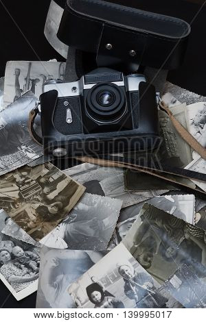 Russia Moscow - March 06,2014: Old black and white and sepia photos at flea market as seen