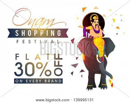 Sale with Flat 30% Off on every brand, Glossy Poster, Banner or Flyer design with illustration of King Mahabali riding on an elephant for South Indian Famous Festival, Happy Onam celebration.