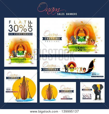 Sale and Discounts Banner set with creative illustration showing culture and tradition of Kerala for South Indian Famous Festival, Happy Onam celebration.