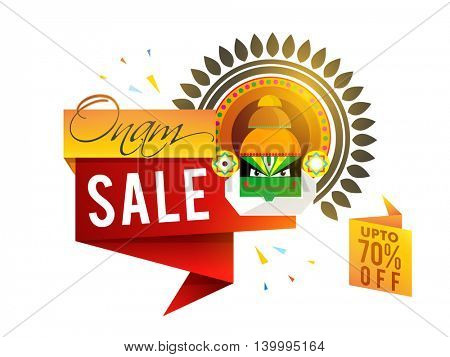 Onam Sale with Upto 70% Off, Creative paper tag or banner design with illustration of Kathakali Dancer Face on white background.