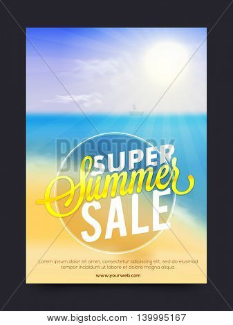 Super Summer Sale, Summer Sale Poster, Sale Banner, Sale Flyer, Sale Typographical Background, Vector illustration with beautiful nature view.