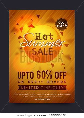 Hot Summer Sale and Discounts, Summer Sale Poster, Sale Banner, Sale Flyer, Limited Time Sale, Upto 60% Off on every brands, Best Products Sale, Shiny Sale Background,