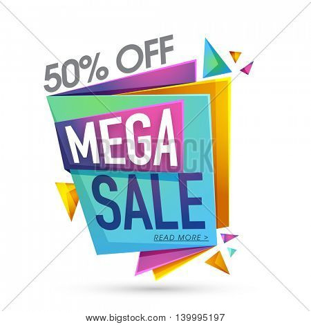 Glossy Mega Sale Paper Banners with 50% Discount Offers, Useable for Poster, Flyer, Pamphlet design.