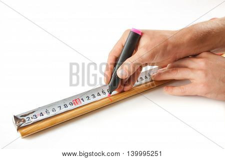 Male Hand Measure With A Ruler The Distance