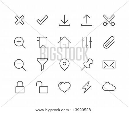 Simple Set of Interface Related Vector Line Icons. Contains such Icons as Accept, Decline, Zoom, Lock, Unlock, Download, Upload and more. Editable Stroke. 48x48 Pixel Perfect.