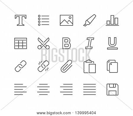 Simple Set of Text Editing Related Vector Line Icons. Contains such Icons as Copy, Paste, Insert Image, Marker and more. Editable Stroke. 48x48 Pixel Perfect.