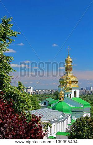 Bell tower of the lower caves and Holy Cross Church, Kiev Pechersk Lavra Monastery, Kyiv, Ukraine