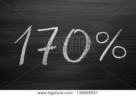 170 percent header written with a chalk on the blackboard
