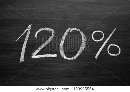 120 percent header written with a chalk on the blackboard