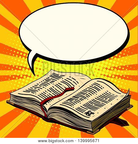 Old book and comic bubble pop art retro vector illustration. The Bible and religion