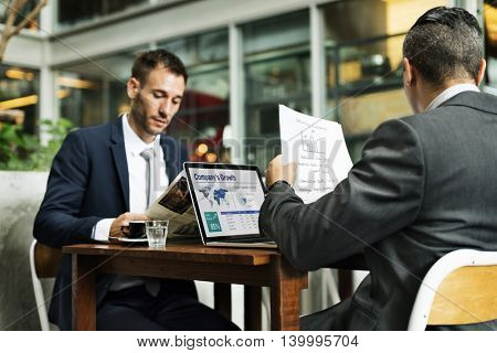 Businessmen Working Cafe Laptop Paperwork Concept