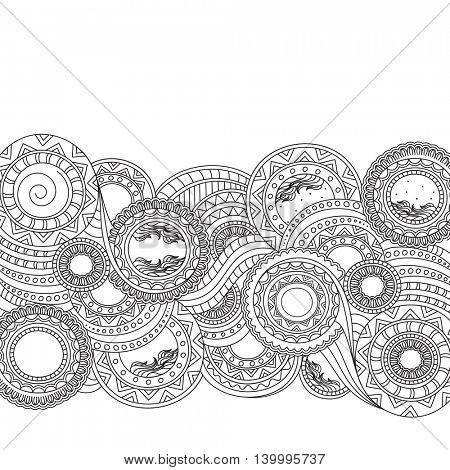 Abstract floral doodle black and white pattern, Beautiful hand drawn floral texture on white background.