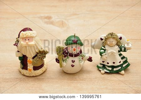 A variety of Christmas figurines to decorate a Christmas tree