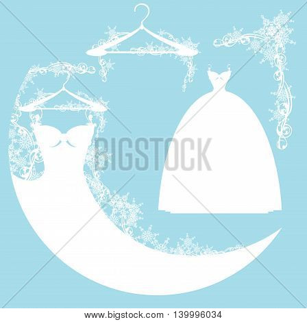 wedding dress among snow - vector design elements collection