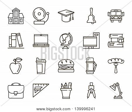 Back to school. set of linear icons on a white background