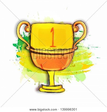 Creative hand drawn illustration of Golden Winner Cup on abstract background for Sports concept.