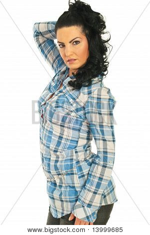 Attractive Woman In Casual Blue Shirt