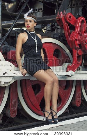 vintage train and girl in a dress
