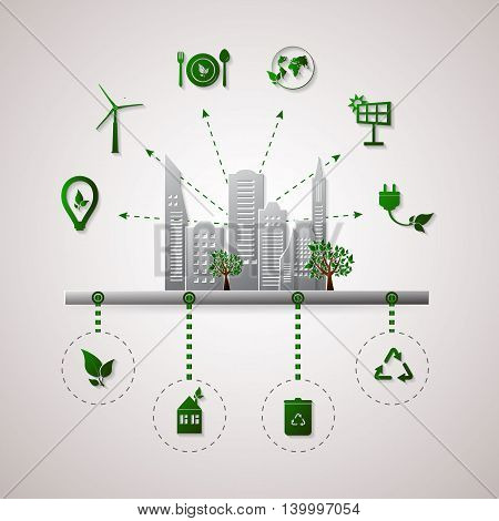Green planet vector info graphic illustration. Ecology flat design. Set of eco icons
