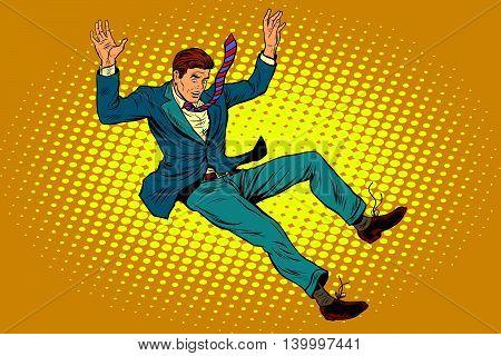 Man falls down from a height, pop art retro vector illustration