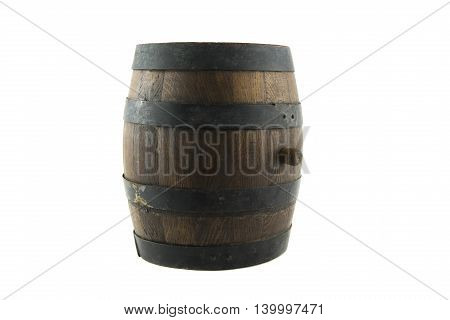 isolated on withe portrait of old wooden barrel