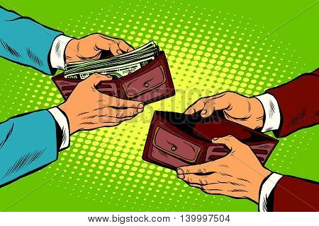 Empty and full money wallet pop art retro vector illustration