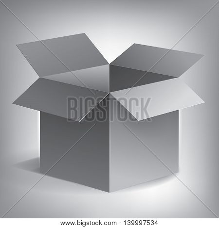 Open volume grey box, abstract object, vector design