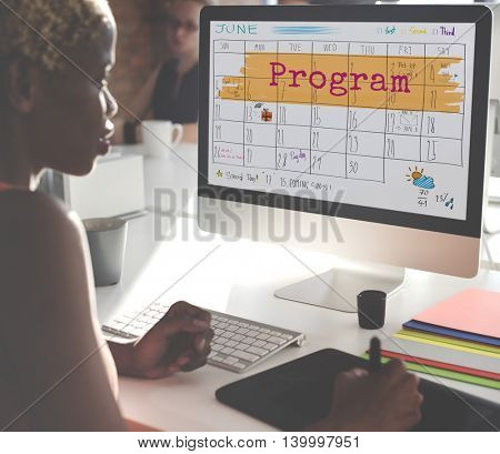 Program Agenda Planner Reminder Calendar To Do Concept